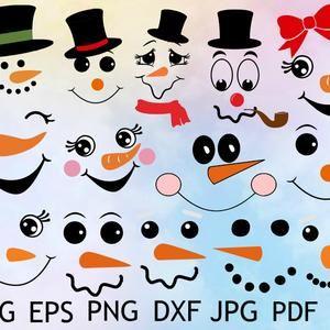 63 Piece Snowman Face Svg Cute Snowman Svg Snowman Clipart Etsy Snowman Faces Christmas Svg Snowman Christmas Decorations