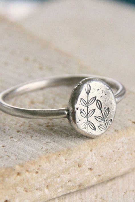 Recycled Botanical Metal Ring