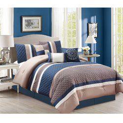 7 Piece Tiva Blue//Gray Comforter Set