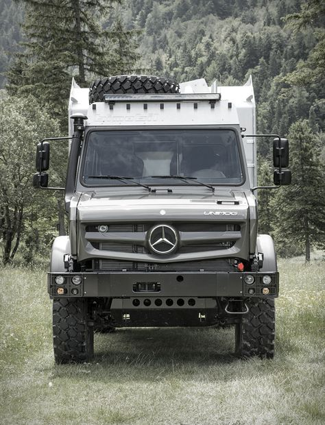 The beastly EX 435 from Germany´s Bimobil, is the ultimate expedition vehicle ready to prowl Earth in search of adventure. Built atop the Mercedes Unimog, the adventure camper features a powerful BlueTec four-cylinder engine that put Overland Truck, Overland Trailer, Expedition Vehicle, Mercedes Benz Unimog, Mercedes Benz Trucks, Off Road Camper, Truck Camper, Camper Van, 4x4 Trucks