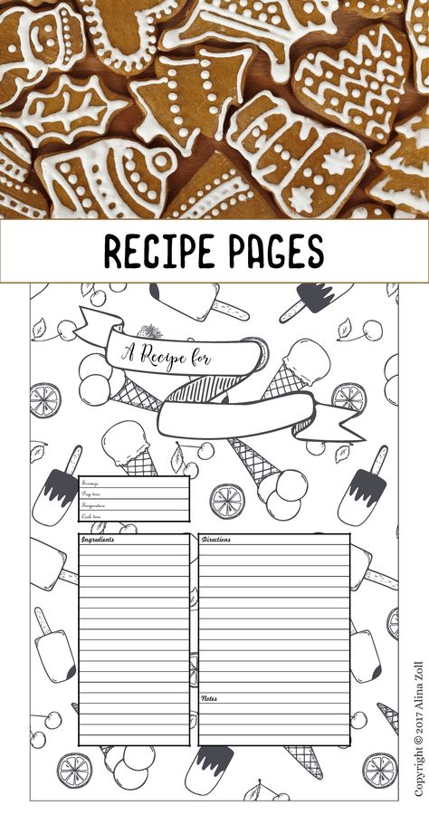 Recipe Template Printable, 10 Recipe Pages, Blank Recipe Book PDF