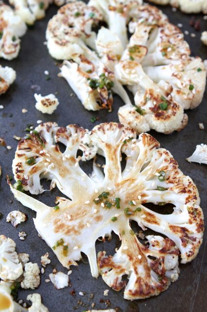 Cauliflower Steaks with Ginger-Soy Sauce on www.twopeasandtheirpod.com Love this easy recipe!