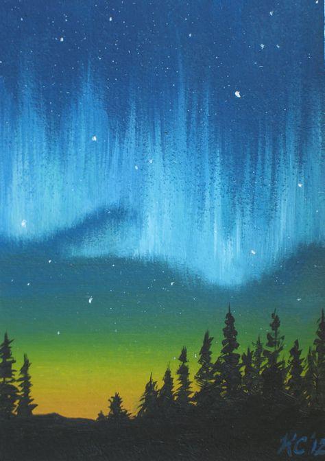 Original Oil Painting ACEONorhtern Lights by MysticMeadowStudio