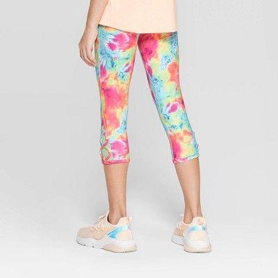 Girls Lattice Capri Leggings C9 Champion Blue Pink M Girl S Size Medium Multicolored Capri Leggings C9 Champion Leggings