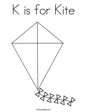 K Is For Kite Coloring Page Twisty Noodle Kites Craft Letter A Crafts Letter K Crafts