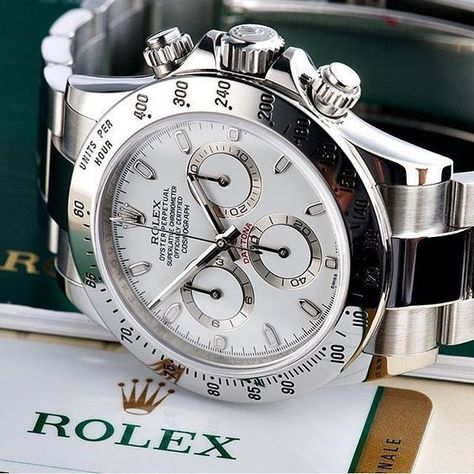 Close-up of a stainless steel Rolex Daytona white dial watch in courtesy of