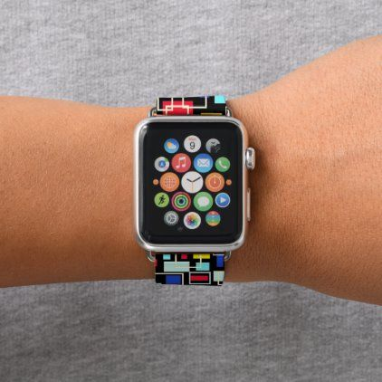 Colorful Bauhaus Mondrian Pattern On Black Apple Watch Band Zazzle Com Black Apple Watch Band