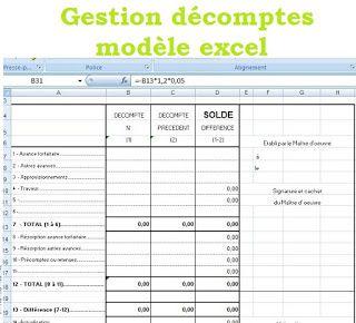 Decompte General Definitif Modele Excel Gratuit Formulaire Excel Decompte Planning Chantier