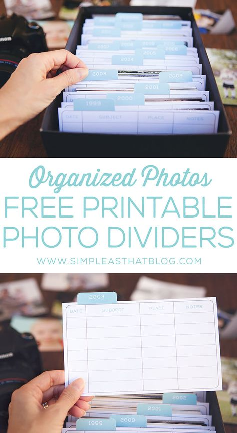 Dividers and tabs for organizing printed photos - free printable photo dividers and tabs. Keep your photos organized! Scrapbook Organization, Storage Organization, Project Life Organization, Organizing Ideas, Bathroom Organization, Organising, Daily Organization, Makeup Organization, Home Organization