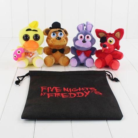 Small and cute 5 Five Nights At Freddy's 4 FNAF 15cm Bear foxy Chica Bonnie Freddy Foxy plush doll set