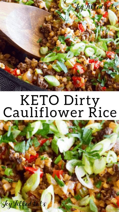 Dirty Keto Cauliflower Rice Recipe with Venison Low Carb GrainFree GlutenFree THM S This Dirty Cauliflower Rice recipe is a keto spin on the classic Creole dish Simple q. Keto Foods, Ketogenic Recipes, Paleo Diet, Healthy Recipes, Beef Recipes, Keto Veggie Recipes, Veggie Food, Recipies, Gluten Free Recipes Low Calorie