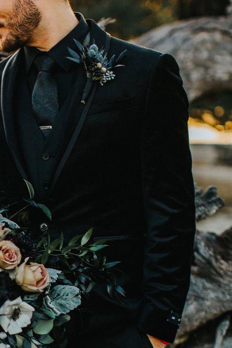 wedding suits men 20 Stylish Ways to Dress Up Your Groom - Mens wedding attire - Wedding Men, Dream Wedding, Black Tux Wedding, Groom Tuxedo Wedding, Wedding Poses, Wedding Tuxedos, Wedding Groom Attire, Fall Groomsmen Attire, Rocker Wedding