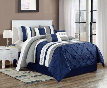 7 Piece Erla Navy Gray Comforter Set Dormitorios Conjunto De Cama Interiores De Casa