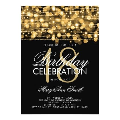 Elegant 18th Birthday Party Sparkles Gold Card