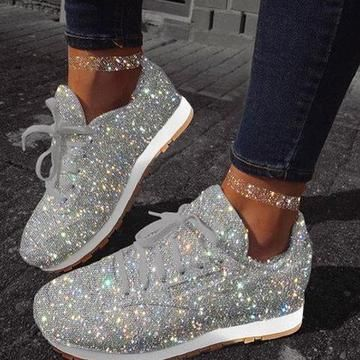 Sparkly shoes, White shoes sneakers