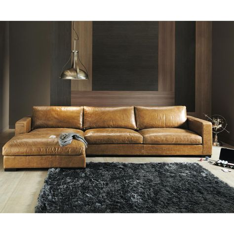 Vintage Brown Leather Sectional Corner Sofa, Seats 3/4 Lincoln