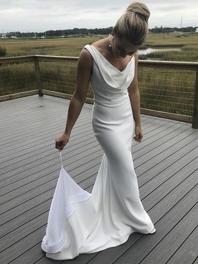 Cowl Neckline Sheath Backless Wedding Dress 2020 In 2020 Beach Wedding Dresses Backless White Wedding Gowns Cheap Fashion Dresses