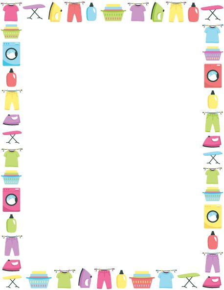 Printable laundry border. Use the border in Microsoft Word or other programs for creating flyers, invitations, and other printables. Free GIF, JPG, PDF, and PNG downloads at  http://pageborders.org/download/laundry-border/