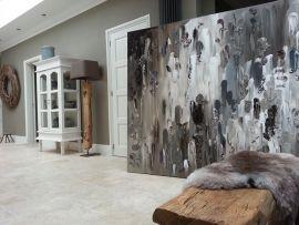Groot Schilderij Woonkamer : 220 x 180 abstract taupe grijs schilu2026 grote abstracte moderne