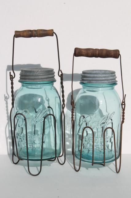 Primitive Wire Rack Jar Carriers W Wooden Handles Old Blue Glass Ball Mason Jars Ball Mason Jars Mason Jars Small Mason Jars