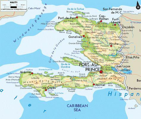Haiti Geografiske Kort Over Haiti Dansk Encyklopaedi
