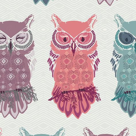 Owl Fabric Modern Cotton Quilting Fabric Art Gallery Nightfall Maureen Cracknell Birds of Night Mist Yardage By the Yard
