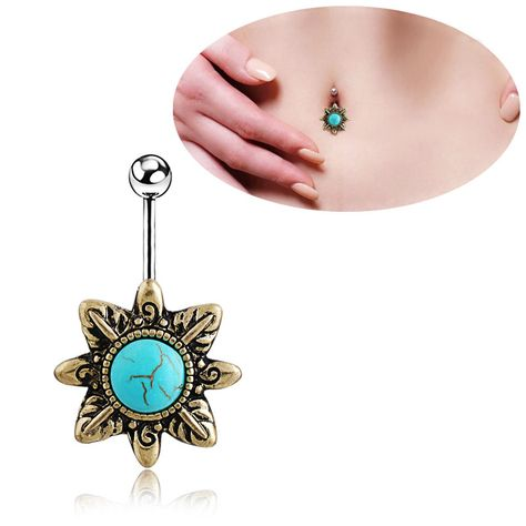 Pierced Owl Vintage CZ Crystal Paved Turquoise Tear Drop Belly Button Navel Ring