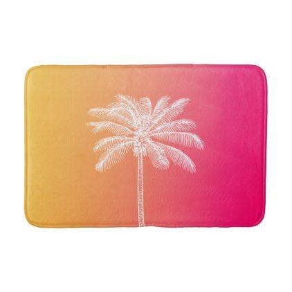 Tropical White Palm Tree Sunset Bath Mat Palm Tree Sunset Bath Mat Rug Palm Trees