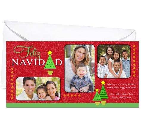 Photo Cards : Spanish Feliz Navidad Christmas Holiday Photo Card Template