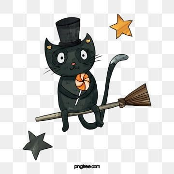 Hand Painted Occident Kitty Illustration Element Festival Funny Halloween Cat Clipart Halloween Cl Black Cat Illustration Halloween Typography Cat Illustration