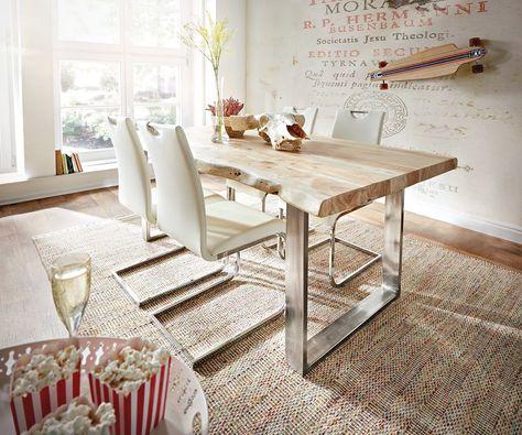 Baumtisch Live-Edge 140x90 Akazie gebleicht Platte 5cm Gestell - Schmale Tische Für Küche