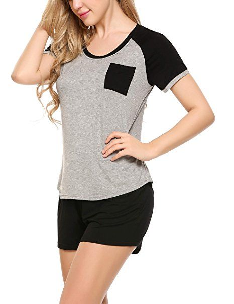 new product 329c7 976a8 Ekouaer Damen Schlafanzug Pyjama Shorty Mit Shorts & Shirt ...