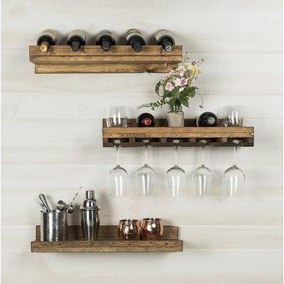 Bernardo Solid Wood Wall Mounted Wine Glass Rack Hanging Wine Rack Wine Rack Design Wine Glass Shelf