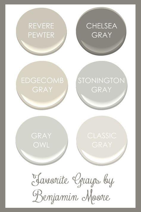 Favorite Grays by Benjamin Moore. Revere Pewter, Chelsea Gray, Edgecomb Gray, Stonington Gray, Gray Owl, Classic Gray. #Gray #BenjaminMoore