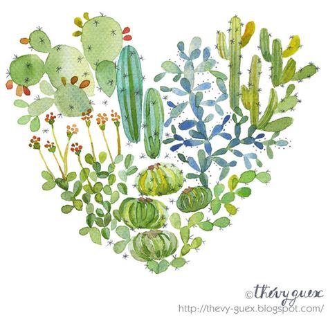 Illustration Affiche Poster Aquarelle Amour Coeur Cactus Vert