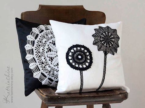 Black and white Pillow Cover With Crocheted Doily by katrinshine