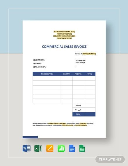 Commercial Sales Invoice Template Word Doc Excel Apple Mac Pages Google Docs Google Sheets Apple Mac Numbers Invoice Template Word Invoice Template Downloadable Resume Template