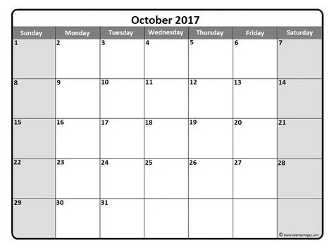 October 2017 Monthly Calendar Printout Calendar 2019 Printable