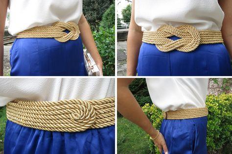 Diy cinturón de cordón de seda dorado8