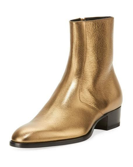 0362ed9c Wyatt 40mm Men's Metallic Leather Ankle Boots Gold in 2019 | Nice ...