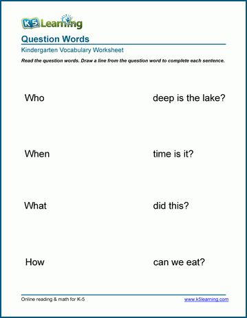 Question Word Worksheets K5 Learning Vocabulary Worksheets Kindergarten Worksheets Kindergarten Vocabulary
