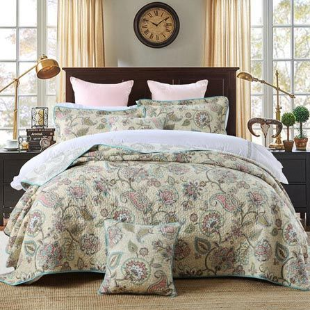 Best Bed Set 3 Pieces Cotton Paisley Flowers Printed Bedspread Quilt Sets Queen In 2020 Green Bedding Set Bedspread Set Quilt Sets Bedding