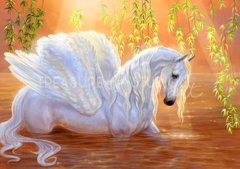 Bathing Pegasus by Polina Bivsheva | Diamond Painting - Treasure Studios Art