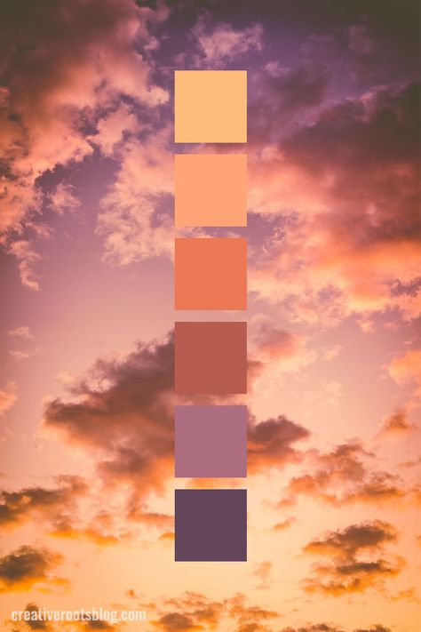 Color palette inspired by a a deep orange and purple sunset and clouds. Fluffy c. - Color palette inspired by a a deep orange and purple sunset and clouds. Fluffy clouds and calming, - Sunset Color Palette, Sunset Colors, Orange Palette, Palette Art, Gold Palette, Makeup Palette, Color Schemes Colour Palettes, Colour Pallette, Rust Color Schemes