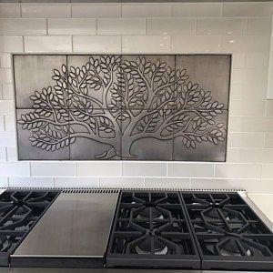 Tree Of Life 8 Handmade 100 Stainless Steel Tiles Perfect Etsy In 2020 Stainless Steel Tile Handmade Tiles Copper Tiles