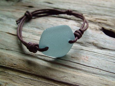 Feel like you're at the beach by wearing this aqua sea glass bracelet around your wrist.