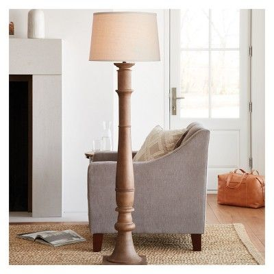 Large Turned Wood Floor Lamp Only Brown Threshold