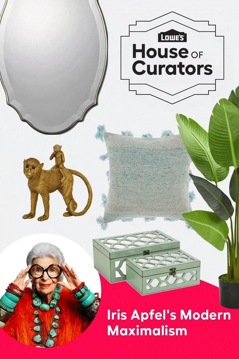Bring bold personality and energy to any room with Iris Apfel's Modern Maximalism curation for Lowe's House of Curators.
