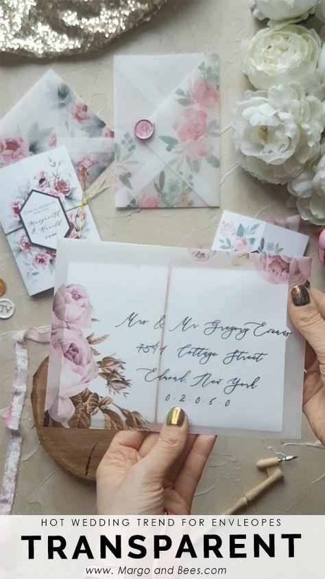 Hot wedding details - transparent envelopes with flowers! Totally romantic!  #flowerenvelopes #transparentwedding #moderninvitations #perfectday #summerwedding #pinkflowers #blushbride
