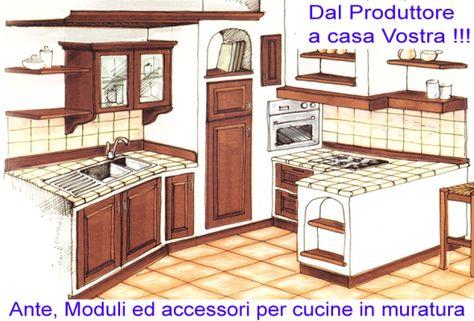 Componenti per cucine in muratura | Cucina in muratura, Idee ...